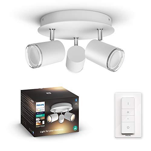 Philips Hue Adore - Plafón con 3 Focos Inteligentes LED blancos para baño con Bluetooth, Luz Blanca de Cálida a Fría, Compatible con Alexa y Google Home
