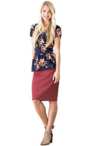 Mikarose Modest Pencil Skirt In Mauve, Modest Tube Skirt In Dark Pink