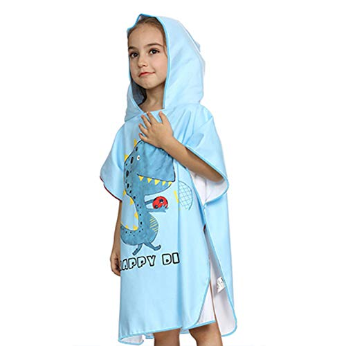 Achort Toalla de niño Poncho para baño de Playa Toalla de baño con Capucha, Niños Albornoz de Dibujos Animados de Microfibra Toalla de Secado rápido para niñas, Niños 66 * 65cm