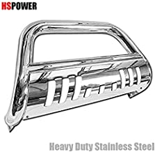 HS Power Chrome Bull Bar 2005-2010 for Hummer H3 | Stainless Bumper Grill Brush Push Grille Guard