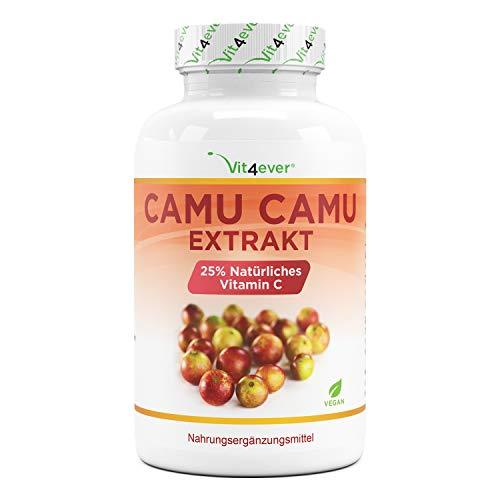 Cápsulas de Camu Camu - Vitamina C natural - 240 cápsulas veganas para 8 meses - Premium: Altamente dosificado con 750 mg de extracto de Camu Camu por cápsula - Sin aditivos indeseables - Vegano