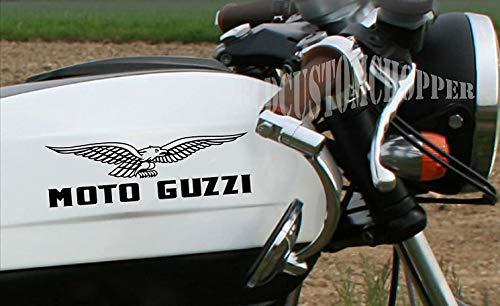 2 ADESIVI STICKERS MOTO GUZZI SERBATOIO CASCO MOTO CUSTOM (SILVER)