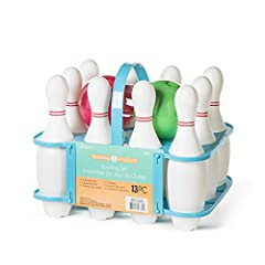 Keep kids playing with this adorable bowling set Each set includes 10 bowling pins, 2 bowling balls, 1 plastic carrying caddy Perfect for rainy days in and keeping kids active For ages 4+ BPA free