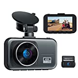 4K Ultra HD Dash Cam Front and Rear Supercapacitor Dual Dash Cam for Car 3' Display Car Security Camera Driving Recorder w/Hardwire Kit 24/7 Parking Mode G-Sensor Loop Recording
