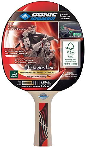 Donic-Schildkröt Raqueta de Tenis de Mesa Legends 600, Ergo-Grip, Esponja de 1,8 mm, Madera FSC, Almohadilla Prestige-ITTF, 724416