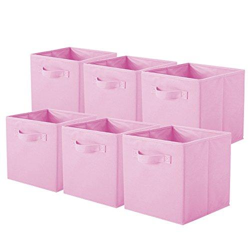 Powerking Cesta Plegable de Almacenamiento de Ropa Cubos, contenedores y cajones (Rosado, 6)