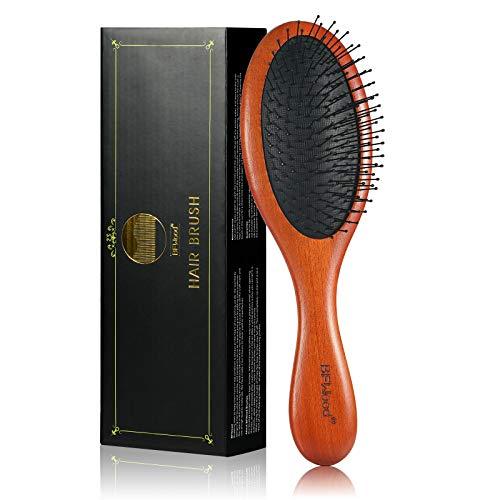 BFWood Entwirrende Haarbürste - Weiche Nylonborsten Holzbürste für nasses oder trockenes Haar