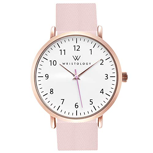 WRISTOLOGY Olivia Rose Gold Womens Numbers Watch - for Nurses Large Face Analog Easy to Read with Second Hand Pink Silicone Band