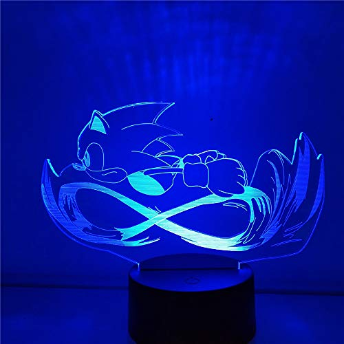 Sonic 3D Night Light The Hedgehog Sonic Game Dormitorio Decoración Lamparas Luminaria Lampe Bebé Niños Regalos Decoración Iluminación para el hogar, sin control remoto