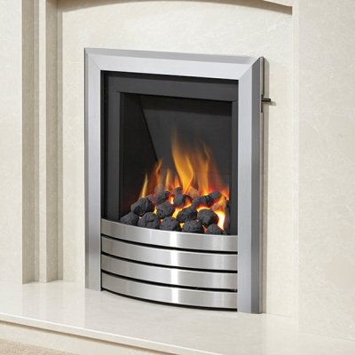 Be Modern Alcazar Slimline Inset Gas Fire Slide Control Brushed Steel Design Trim