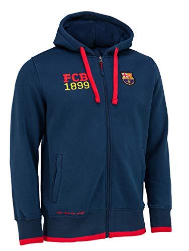 F.C. Barcelona - Sudadera con capucha del F. C. Barcelona (colección oficial del F.C. Barcelona, talla de adulto), Hombre, azul marino, small