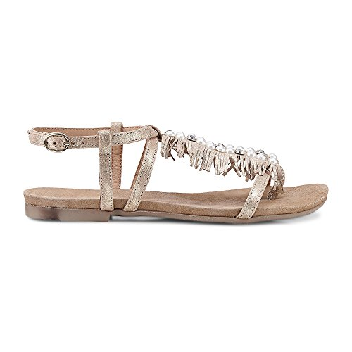Belmondo Damen Perlen-Sandale Gold Leder 40