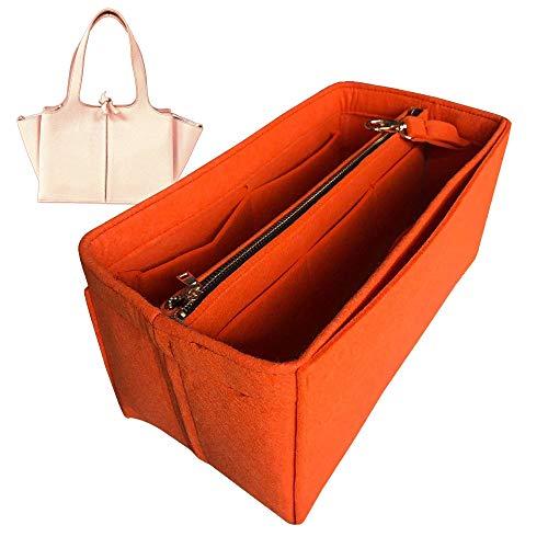 Trifold M Organizer, Felt Purse Insert Bag Liner Shaper Protector Pouch Tote Organize Handbag (Style B) - Dark-Grey