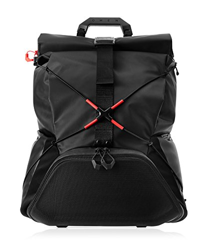 "OMEN Transceptor 15.6"" Gaming Laptop Roll Top Backpack, USB Charging Port. Water-Resistant, RFID-Blocking Pocket, Padded Straps, Luggage Sleeve, 25L (7MT83AA)"