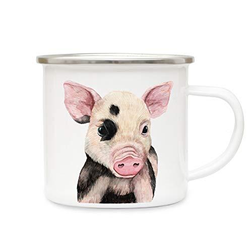 ilka parey wandtattoo-welt Tasse Emaille Becher oder Thermobecher Kaffeebecher mit Ferkel Schweinchen Kaffeebecher Schweinchen-Motiv Geschenk pb016 - ausgewähltes Produkt: *Emaillebecher*