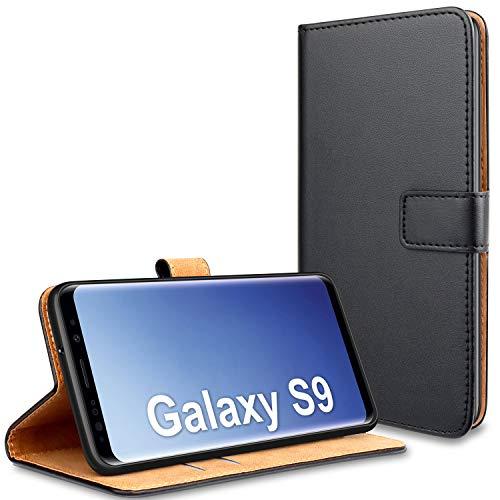 YNMEacc für Samsung S9 Hülle, Premium Handy Schutzhülle Leder Wallet Tasche Flip Brieftasche Etui Schale für Samsung Galaxy S9 Hülle - Schwarz