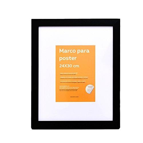 Zwart framemaat 24x30cm. Perfect om op te hangen of op meubels te plaatsen. Zwarte kaderkleur, met witte achtergrond. Vul uw huis met onze fotolijst. Nacnic