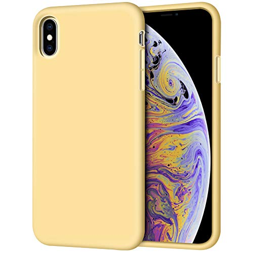iPhone Xs Max Case, Anuck Soft Silicone Gel Rubber Bumper Case Anti-Scratch Microfiber Lining Hard Shell Shockproof Full-Body Protective Case Cover for Apple iPhone Xs Max 6.5' 2018 - Yellow