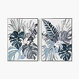 JINHJ Vintage Azul Planta Hoja Lienzo Pintura Cartel Abstracto impresión botánica Arte de Pared Imagen decoración del hogar (40x60 cm) × 2 Piezas sin Marco