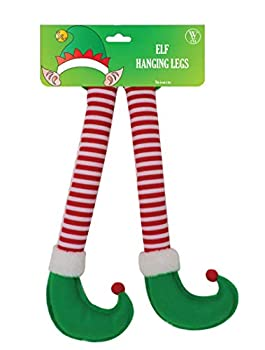 Win&Co Christmas Car Auto Decorations Accesory Elf Hanging Legs Sticking Out of Trunk  Green