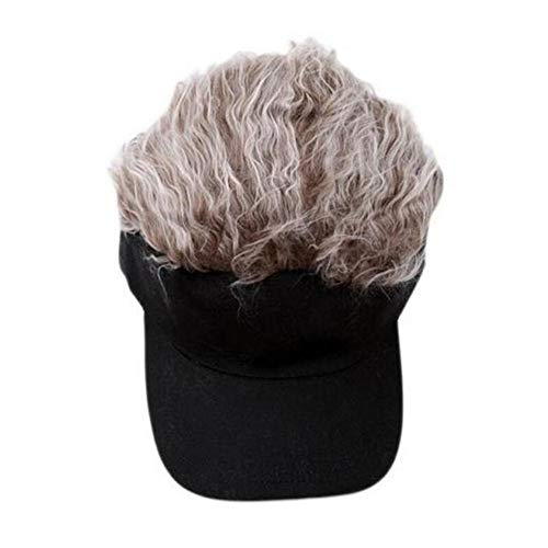 TanQiang Adjustable Baseball Hat Toupee Wig Hat Funny Golf Caps Novelty Baseball Cap for Women and Men … (Brown)