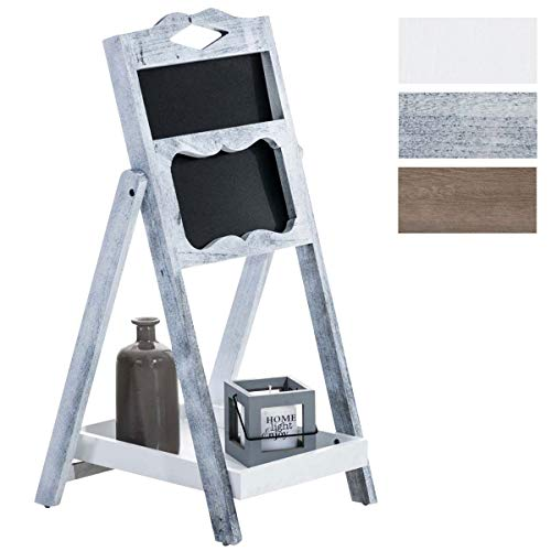 Expositor Estantería Tipo Escalera Patrick I Mueble Decorativo con Pizarra & un Estante I Estantería Escalera Plegable I Color:, Color:Antiguo-Gris
