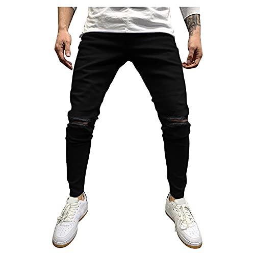VODMXYGG Pantalones para Hombre Casual Trabajo Jogging Fitness Ropa de Trekking PantalóN de Mezclilla con Rotos Y Corte Slim Pantalones con Cinturilla de Corte Slim ✅