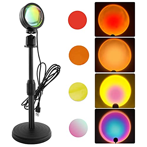 ZHT Sunset Projection lamp Multi Colors, TIK Tok 360 Degree Rotation Night Lamp for Bedroom Background Wall Light, Romantic Night Light for Taking Pictures Live Broadcast.