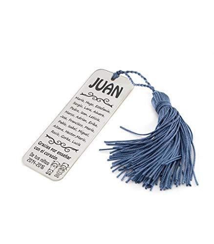 Silver & Steel Marcapáginas para Profesor con Nombres de niños. Plata de Ley (Azul)