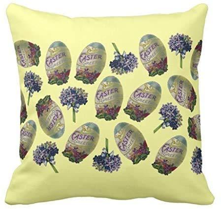 Wini2342ckey - Federa decorativa per cuscino in tela, motivo: uova di Pasqua e violette, 40 x 18 cm
