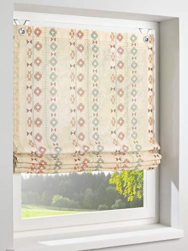 heine home Raffrollo mit Ethno Muster Bedruckt Leinen Optik Landhaus Ösen Sand H/B 125x120 cm