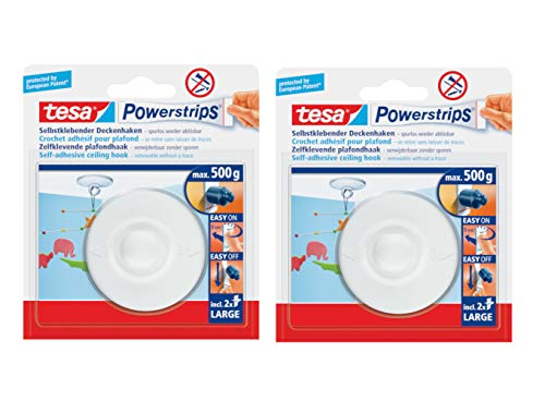 tesa Powerstrips Deckenhaken/Drehbarer Haken aus hochwertigem Kunststoff zum Kleben/Bis 0,5kg / Rüchkstandslos entfernbar (2x 1 Haken)