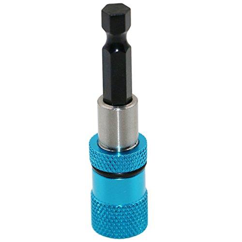 Destornillador magnético titular de 1/4 pulgadas vástago hexagonal barra de liberación rápida socket extensión Chuck adaptador para taladros tuerca Driver azul