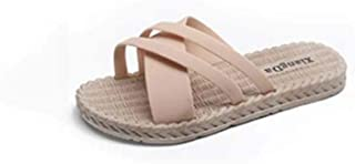 Ladies home floor slippers, linen breathable open-toe deodorant slippers outdoor patio sandals and slippers