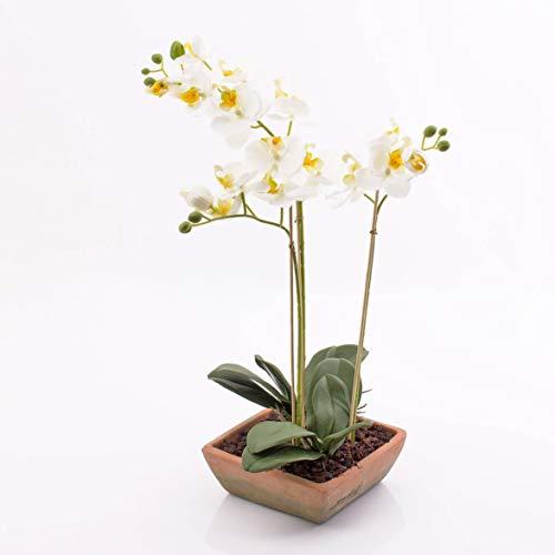 artplants.de Orchidée Phalaenopsis Artificielle Mina en Pot carré, 3 tiges, Blanche, 45cm - orchidée décorative - Fleur Artificielle