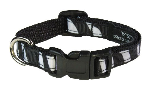 "XSmall Black/White Zebra Dog Collar: 1/2"" Wide, Adjusts 6-12"" - Made in USA. -  Sassy Dog Wear, Z004-CXS"