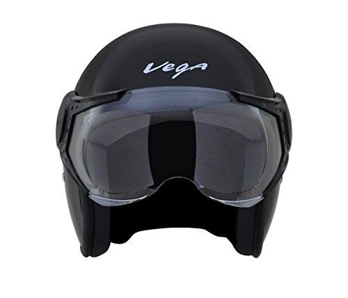 Vega Jet Open Face Helmet Black, L (58 cm)