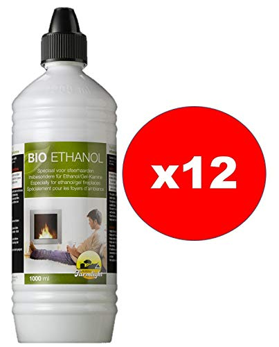 Bioetanolo Farmlight, 12 bottiglie da 1 litro, combustibile liquido ecologico naturale inodore per bio camini e stufe, con pratico beccuccio dosatore