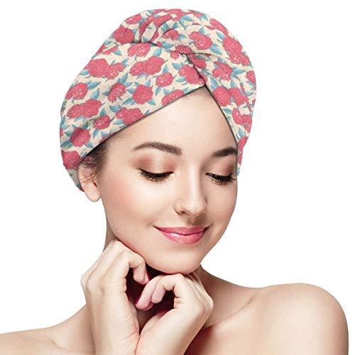 N/A Serviette à cheveux en microfibre Turban à séchage rapide Bonnet de bain style Saint Valentin Rose Composition Love Symbole dans des couleurs pastel