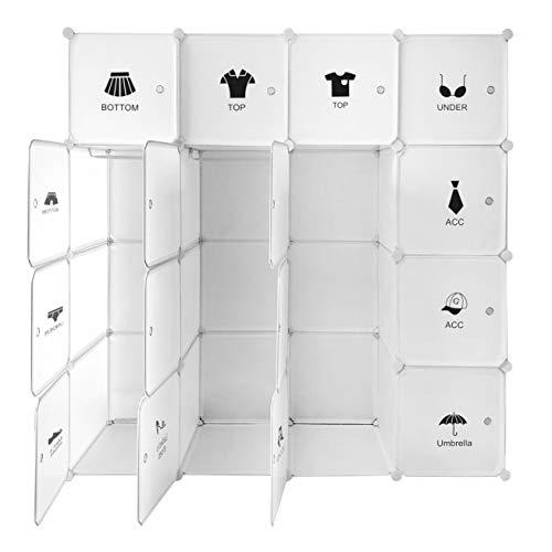 Ribelli Steck-Kleiderschrank Kunststoff Portable Garderobe mit 16 Würfeln - individuell aufbaubar - erweiterbar - auch für hängende Kleidung - platzsparend