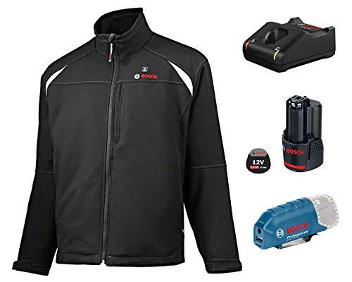 Bosch Professional Beheizbare Jacke GHJ 12+18V Unisex (inkl. 2.0 Ah Akku, 12/18 Volt, schwarz, im Karton) - Größe S