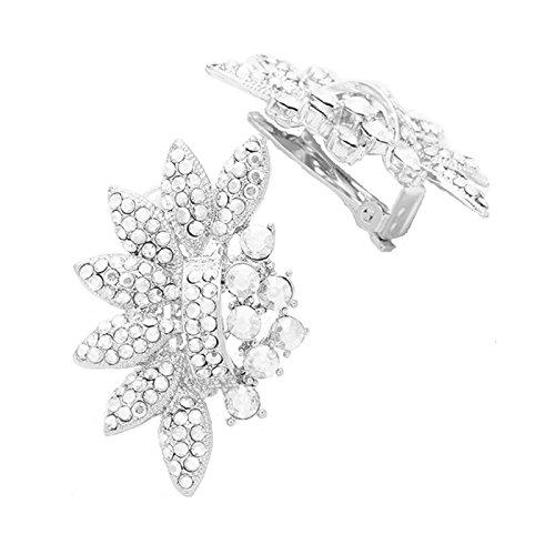 Collana di Symphony Glamour Luxus Designer sera ABI gioielli di nozze orecchini clip Klips clip clip on Orecchini Anelli con cristallo trasparente 4,2cm Lang
