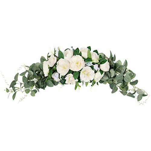 U'Artlines 31 Inch Floral Swag Artificial Peony Flower Wreaths for Front Door with Eucalyptus Leaves Berries Handmade Peony Garland for Wedding Home Party Wall Decor(White)