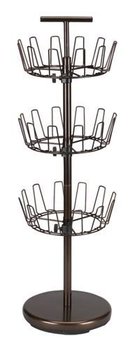 Household Essentials 2138 - Zapatero giratorio ajustable de tres niveles, color bronce