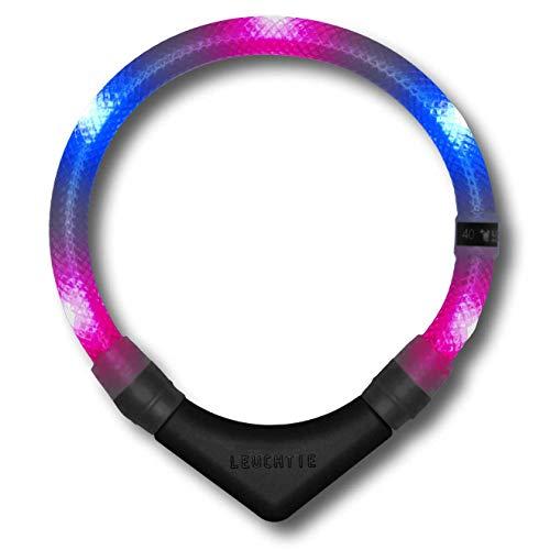LEUCHTIE® Leuchthalsband Premium pink-blau Größe 45 I LED Halsband für Hunde I konstante Leuchtkraft I wasserdicht I extrem hell