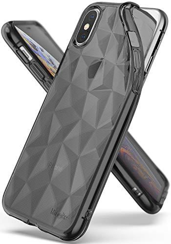 Ringke Air Prism für iPhone XS Hülle, Weich Silikon TPU Schutzhülle mit 3D Prisma Effekt Dünn Stoßfest für iPhone X- Smoke Black