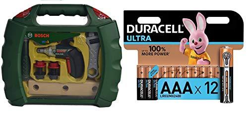 Theo Klein - Bosch maletín de Herramientas con Atornillador de acumuladores ixolino II, Multicolor (8394) + Duracell - Ultra AAA con Powerchek, Pilas Alcalinas (Paquete de 12) 1.5 Voltios