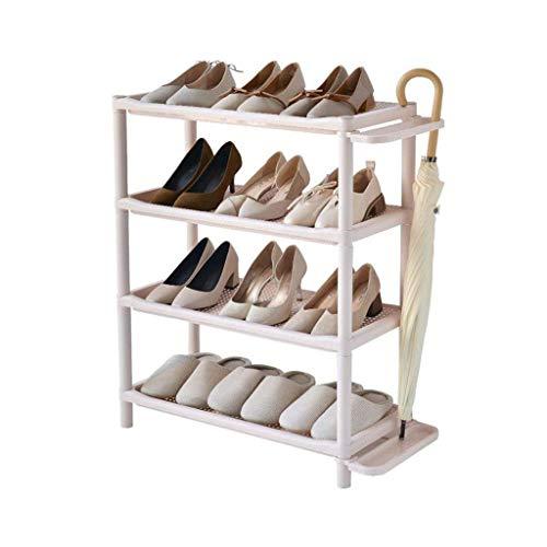 Estante de plástico para Zapatos, gabinete de Almacenamiento, 4 Niveles, baño, Pasillo, Soporte para Paraguas, Montaje de Bricolaje, Rosa