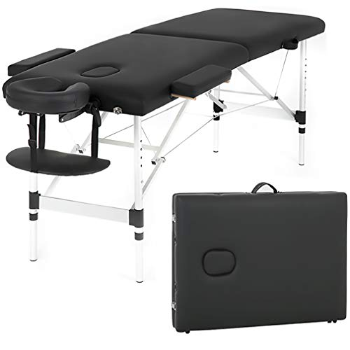 Aluminium Massage Table 73 Inch Massage Bed Spa Bed Massage Table W/Face Cradle Portable Carry Case Height Adjustable 2 Fold Portable Facial Salon Tattoo Bed