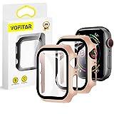 【2枚セット】YOFITAR Apple Watch 用 ケース series6/SE/5/4 44mm アップルウォッチ保護カバー ガラスフィルム 一体型 PC素材 全面保護 超薄型 装着簡単 耐衝撃 高透過率 指紋防止 傷防止 (series4/5/SE/6 44mm,ローズゴールド)